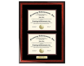 Double Graduation Diploma Frame Engraved Dual Certificate College Frames Satin Rich Mahogany Top mat Black Inner matted Maroon Document