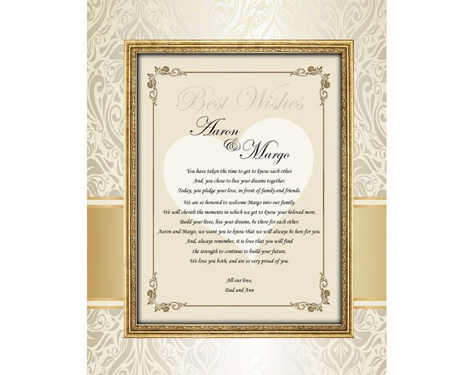 Parents Gift to Bride & Groom Wedding Congratulation Poem Unframed 11x14 Matted Design Print