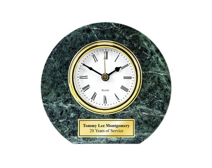 Personalized Round Green Marble Clock with Gold Engraving Plate Anniversary Wedding Employee Recognition Award Service Boss Retirement Gift