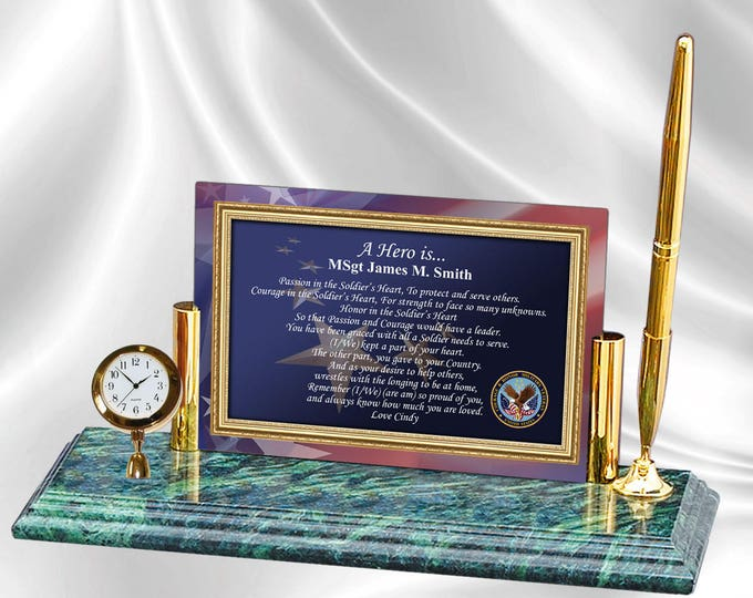 Personalized Military Gift Poetry Mini Clock Pen Marble Base Retirement Gift Promotion uscg USMC USN Navy Army Air Force USAF Marines Vet
