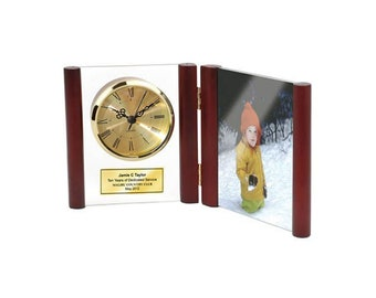 Personalized Clock Glass Book Hinged Wooden Posts with Photo Frame Holds 4x6 Picture Retirement Award Recognition Anniversary Wedding