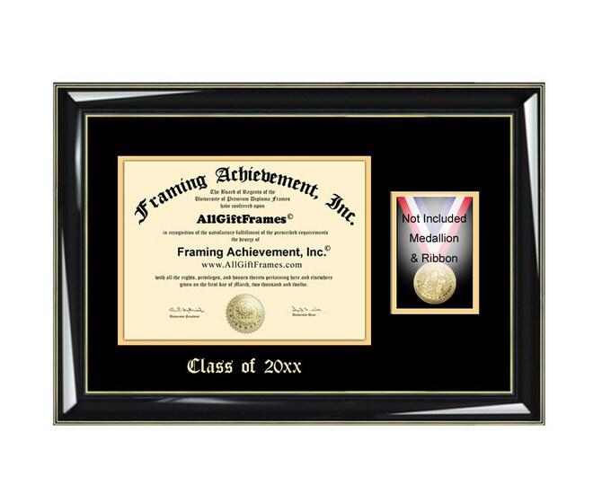 Emboss Medal Box Diploma Frames Degree Framing Medallion Case Holder Plaque Graduation Honors Medallion Ribbon Military College University