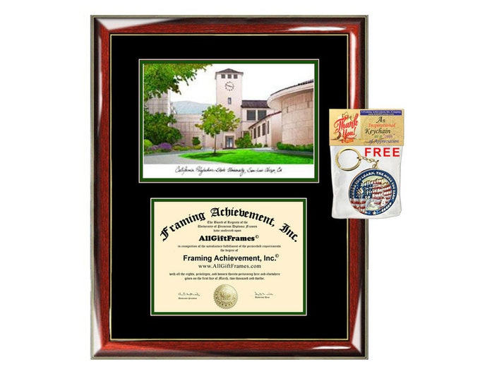 Cal Poly Obispo diploma frames lithograph campus sketch California Polytechnic State University frame certificate framing graduation degree
