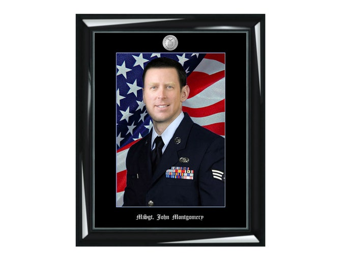 Personalized military picture frame embossed photo portrait framing photograph executive USMC army USAF USCG National Guard employee month