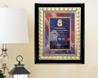 Policeman Sheriff Cop Service Award Plaque Retirement Unique Gift Idea Retiree Sergeant Officer Boyfriend Son Display Present Metal Deputy