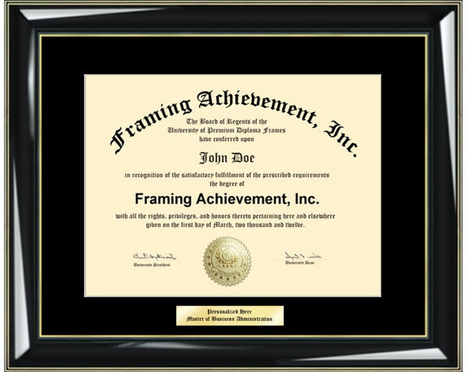 Graduation Diploma Frames Single Black Mat - Glossy Black with Gold Accents - College Diploma Framing Gifts Certificate Frames Graduate