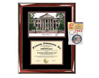 College of Charleston diploma frame lithograph campus image certificate degree frames framing gift graduation plaque college graduate case