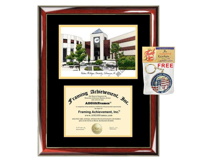 WMU diploma frames Western Michigan University lithograph frame campus sketch framing WMU graduation degree gift college plaque certificate