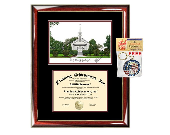 Liberty University diploma frame lithograph campus image Liberty certificate degree frames framing gift graduation plaque college graduate