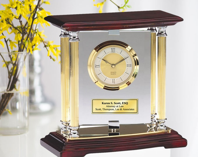 Pivoting Glass Mantle Desk Clock with Gold Silver Columns Mounted Cherry Wood Base Gold Engraving Plate Wedding Gift Anniversary Retirement