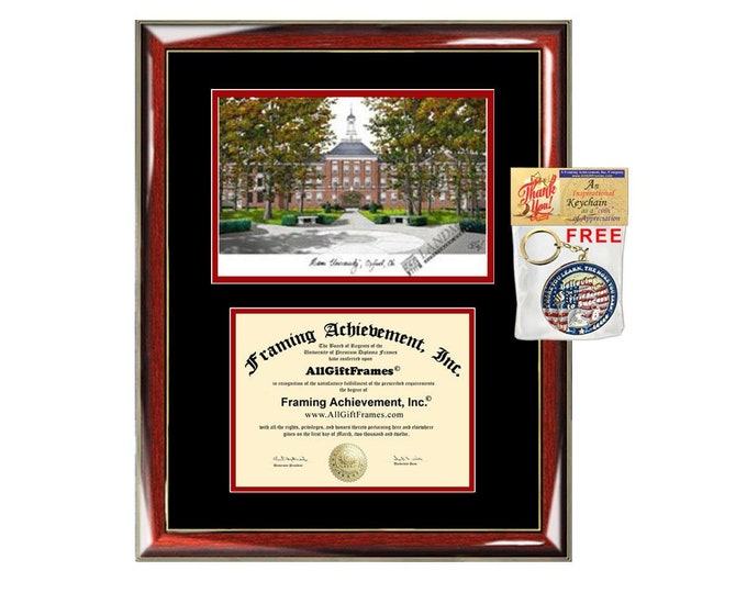 Miami University Ohio diploma frames lithograph Miami frame campus image sketch certificate case holder framing graduation degree graduate