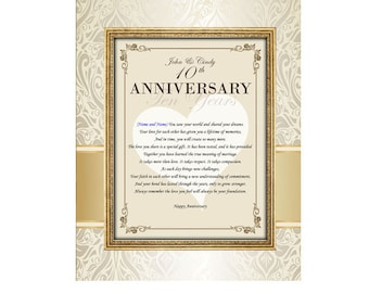 Happy Anniversary Congratulations 11x14 Unframed Matted Personalized Wedding Anniversary Poem to Friend