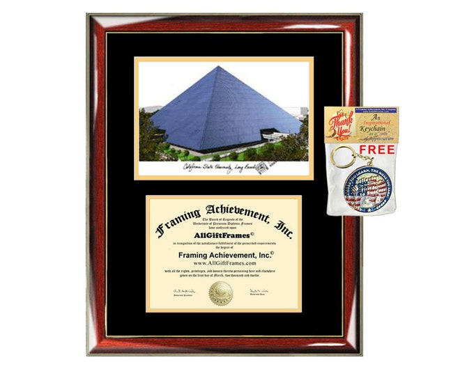 CSULB diploma frames lithograph California State University Long Beach frame campus sketch certificate framing graduation degree Cal State