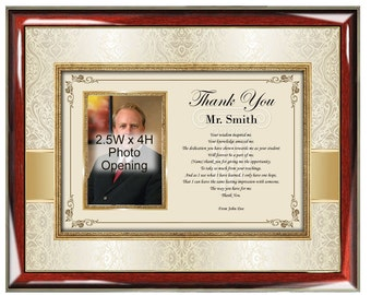 Poetry Thank You Teacher Picture Frame Educator Professor Mentor Personalized Gifts Present Appreciation Photo Plaque