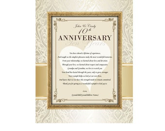 Parents Poetry Anniversary Gift Mother Father Present Unframed 11x14 Matted Wedding Anniversary Poem Congratulation Mom Dad