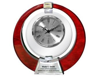 Personalized Engraved Desk Clock 360 Degree Spinning Galaxy Clock Wood Cherry Wedding Anniversary Retirement Gift Employee Service Award