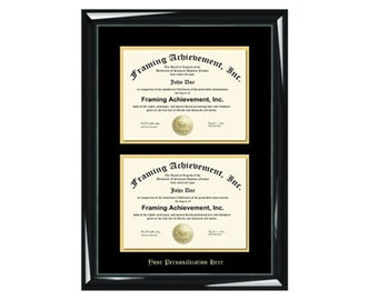 Dual Diploma Frame Double Certificate Frames Embossed Two Document Glossy Majestic Black Top mat Black Inner matted Gold Double College