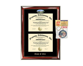 Rowan University Double Diploma Display Frame Campus Fisheye Photo Two School Major Certificate Emboss Holder Degree Framing Graduate Gift
