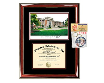 Oregon State University diploma frames lithograph OSU degree frame campus image certificate framing graduation gift college plaque grad