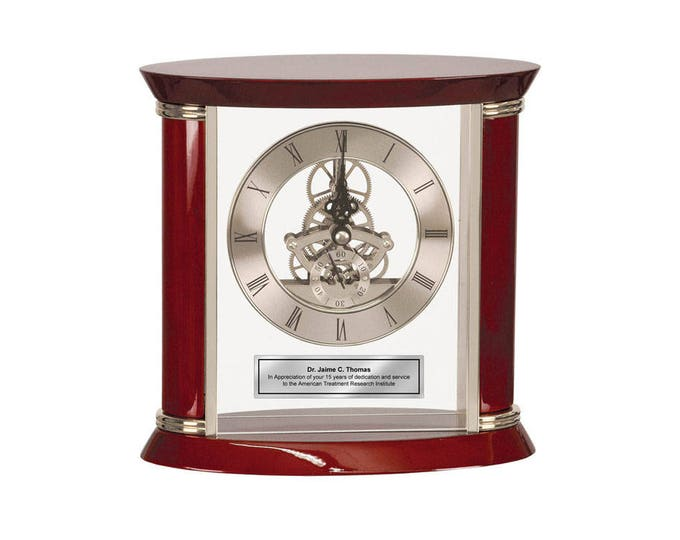 Engraved Desk Clock Personalized Silver Engraving Plate Wood Silver Glass Case Da Vinci Gear Table Clock Wedding Employee Award Retirement