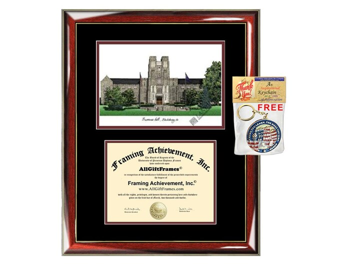 Virginia Tech diploma frame lithograph campus image VT University certificate degree frames framing gift graduation plaque graduate college