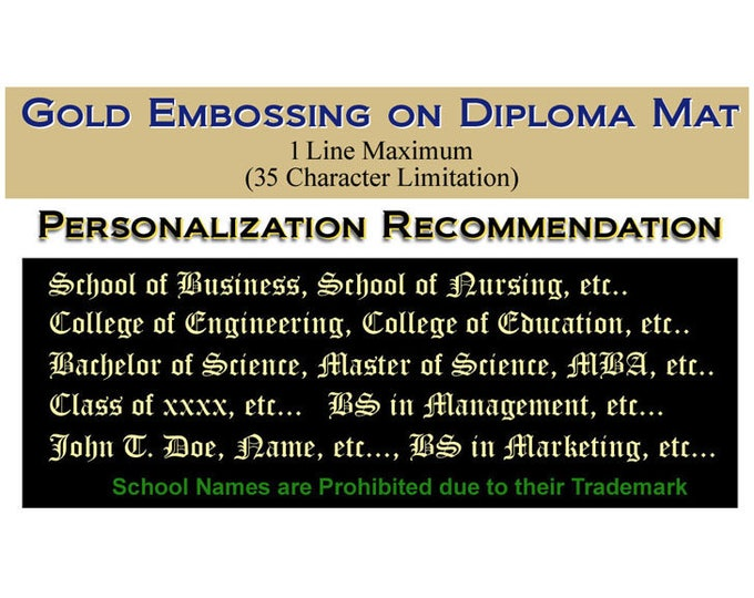 Upgrade One Line Gold Embossing our University Diploma Frames