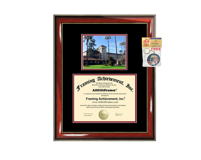 Santa Clara University Law School diploma frame SCU campus photo certificate framing graduation document plaque Law College degree gift