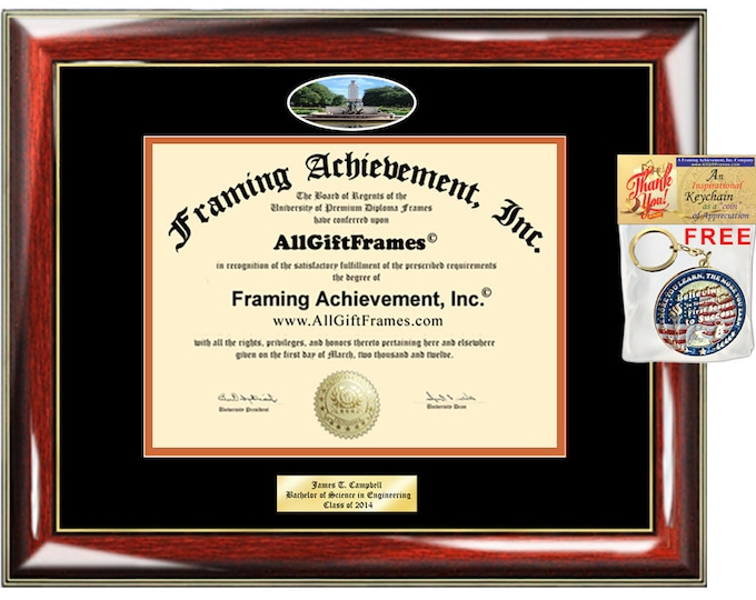 University of Texas Austin UTA diploma frame campus picture certificate framing Personalized Bachelor Master  phd mba Engrave Holder Case