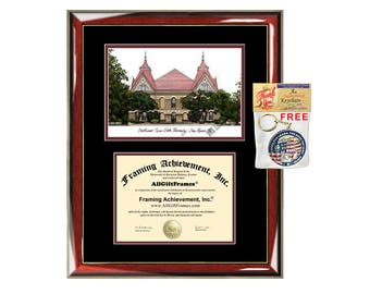 TSU diploma frames Texas State University lithograph frame campus sketch framing graduation degree gift college plaque certificate Southwest