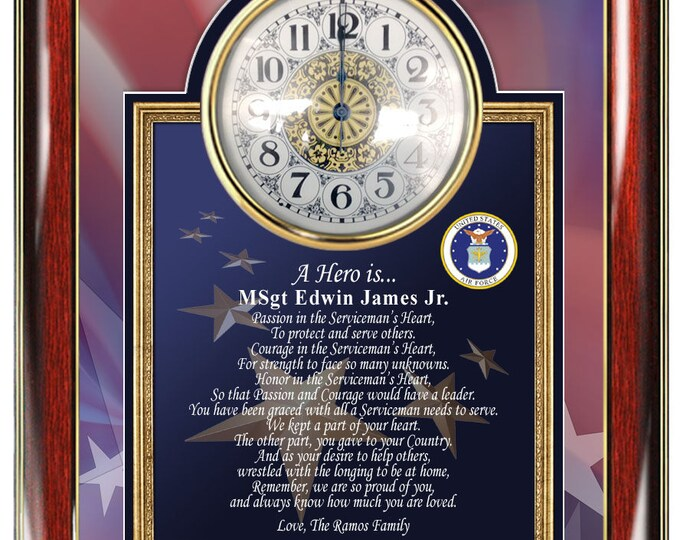 Air Force Plaque Usaf Military Hero Homecoming Personalized Poetry Clock Retirement Presents Boyfriend Husband Father