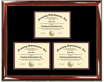 Three Certificate Frame Degree Framing Holds 3 Diploma Documents Framing Professional Certification State Board College University