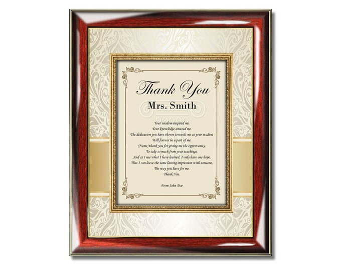 Teacher Thank You Gift Poem Professor Mentor Educator Personalized Poetry Frame Plaque From Student Friend Item TYT-PGC1