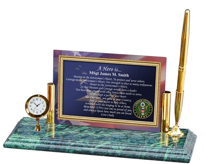 Military Gift Army Poetry Mini Clock Pen US Military Veteran Army Poem Gift Clock Birthday Promotion Retirement