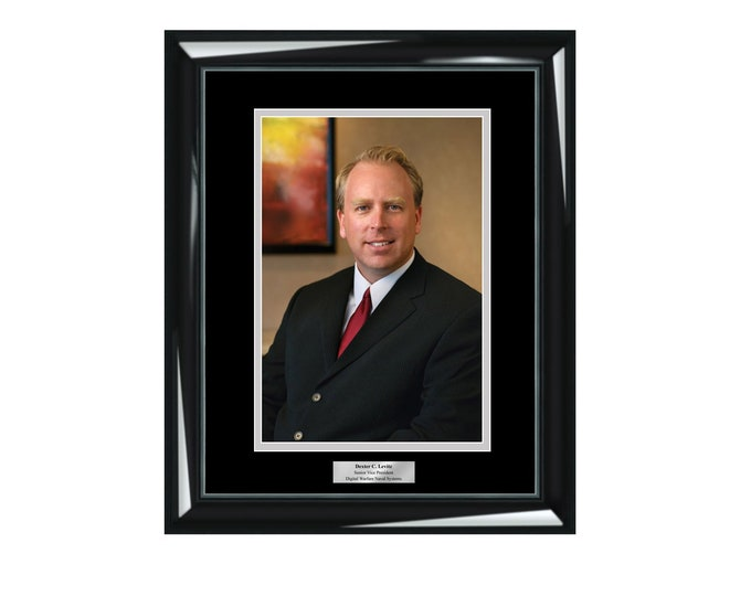 Engraved 8x10 Photo Frame Etched Executive Employee of Month Year Picture Frames Personalized Wall Plaque Shiny Wood Majestic Black Display