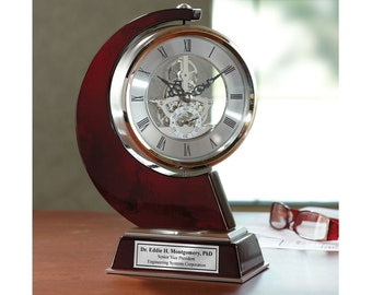 Engraved Personalized Clock Large Gear Da Vinci which Rotates 360 Degrees with Silver Engraving Plate on Wood. Anniversary clock awards
