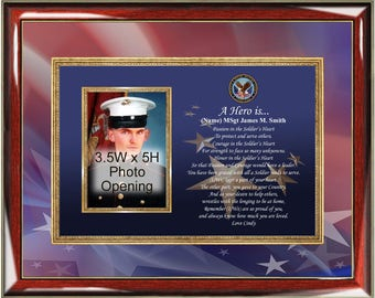 Military Photo Frame Personalized Poetry Plaque Service Promotion Award Retirement Soldier Sailor Navy Air Force Marine Corps Going Away