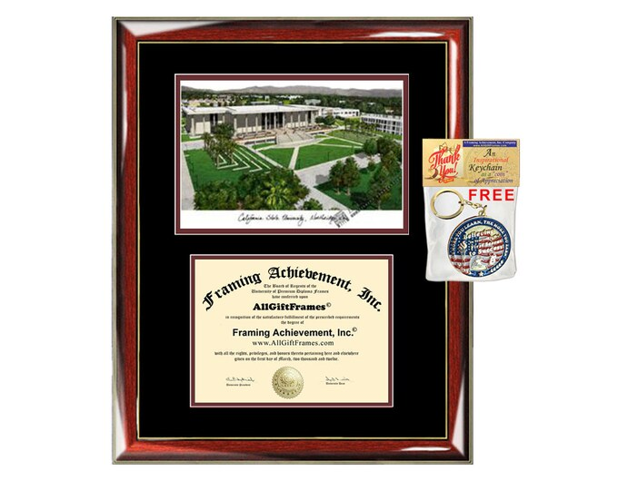 CSUN diploma frames lithograph campus sketch California State University Northridge frame certificate framing graduation degree Cal State