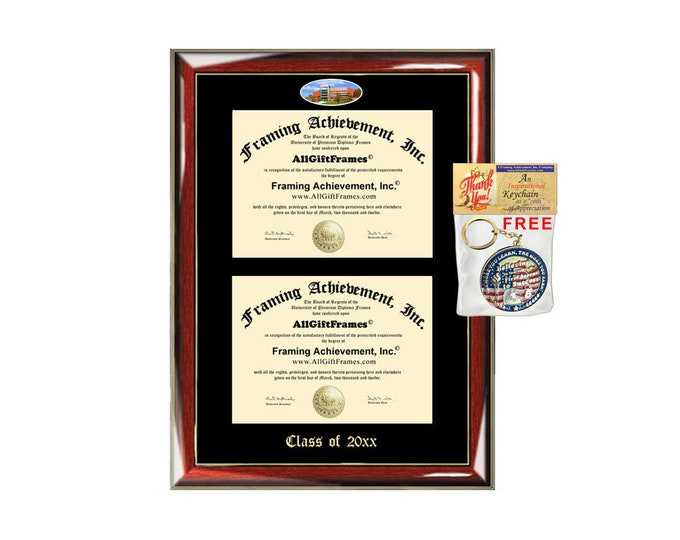 Fitchburg State University Double Diploma Display Frame Campus Fisheye Photo Two School Certificate Emboss Degree Framing Graduate Gift