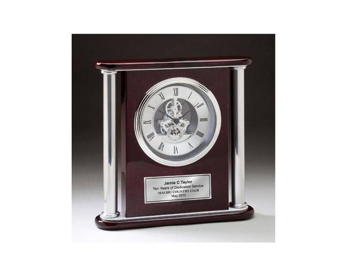Large Chrome Engraved Gear Clock Column Tower Cherry Wood Da Vinci Silver Engraving Plate Wedding Anniversary Retirement Service Award