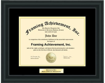 University Diploma Frames Graduation College Frames with Engraving Plate Certificate Frames Top matted Black Inner Gold Satin Rich Black