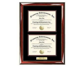 Dual Certificate Frames Double Diploma Graduation Frame Engraved Glossy Prestige Mahogany Gold Accents Top mat Black Inner matted Maroon