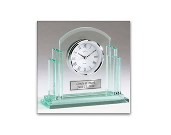 Engraved Silver Basel Clock with Clear Jade Body and Engraving Plate Personalized Retirement Gift Employee Appreciation Recognition Award