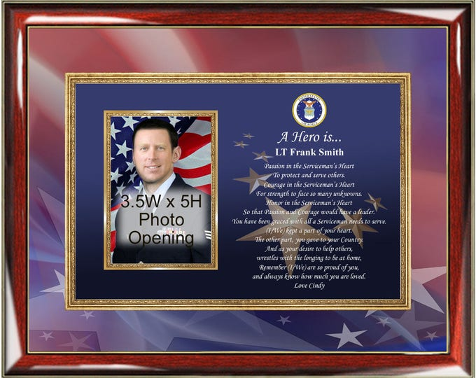 Air Force Picture Frame Plaque Personalized Poetry USAF Photo Plaque Military Hero Poetry Poem Soldier Pilot
