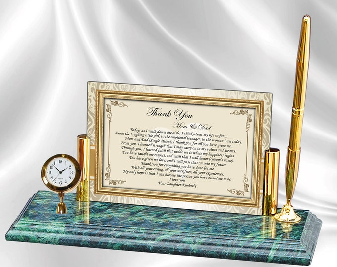 Personalized Thank You Parents Wedding Poetry Mini Clock Marble Pen Wedding Gifts For Mom Dad from Daughter Bride Son Groom