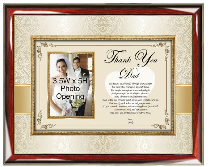 Personalized Father Thank You Poetry Gift Picture Frame Father's Day Wedding Birthday Photo Plaque Appreciation Gift Present Father Bride