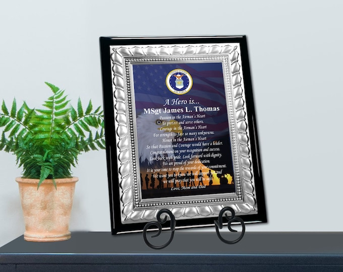 Military Award Plaque Silver Service Appreciation Recognition Retirement Going Away Homecoming Discharge Graduation Soldier Birthday Veteran