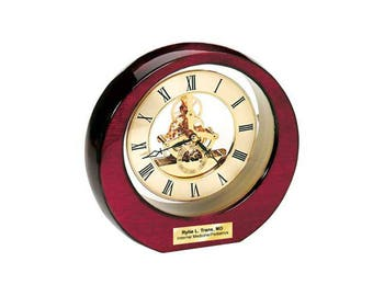 Glossy Cherry Wood with Gold Da Vinci Gear Moon Clock and Gold Engraving Plate wedding anniversary birthday retirement employee gifts