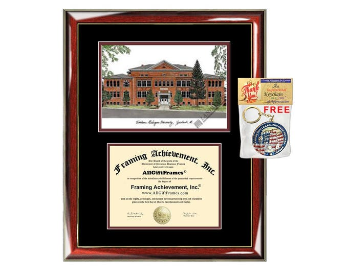 EMU diploma frames lithograph Eastern Michigan University degree frame graduation plaque gift certificate holder case graduate picture image
