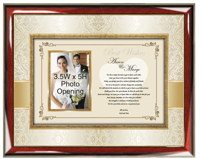 Parents Wedding Gift to Daughter or Son Frame Personalized Wedding Present Picture Frame From Mom Dad to Bride and Groom