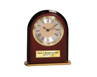 Personalized Black Glass Panel Wood Arch Mahogany Desk Clock with Gold Engraving Plate. Personalized Retiree Coworker Recognition Gift